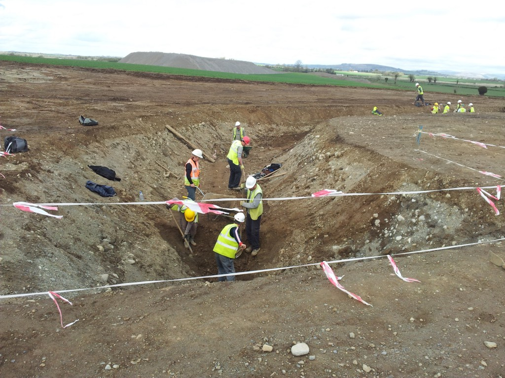 Excavating the inner ditch at