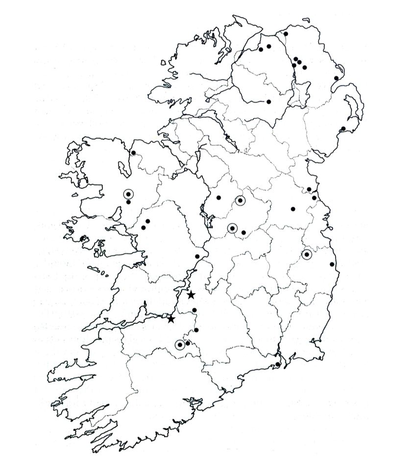 The distribution of Bronze Age razors in Ireland. After Kavanagh 1991 with additions.